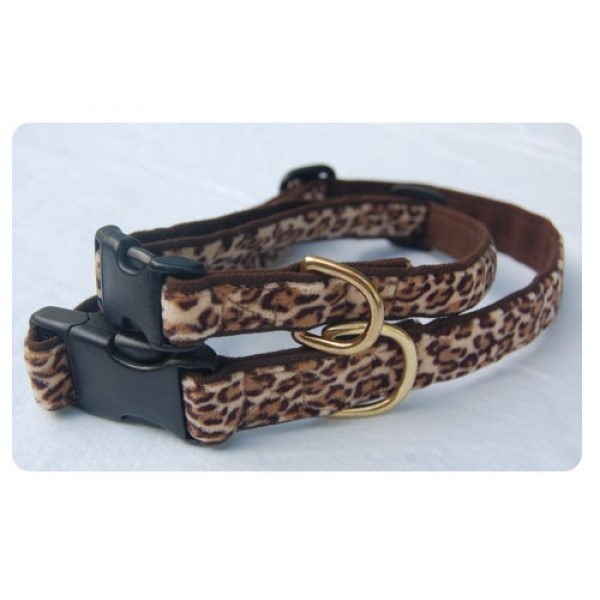 Tawny Leopard on Baybrown Collar - Brown clasp w/nickel D ring