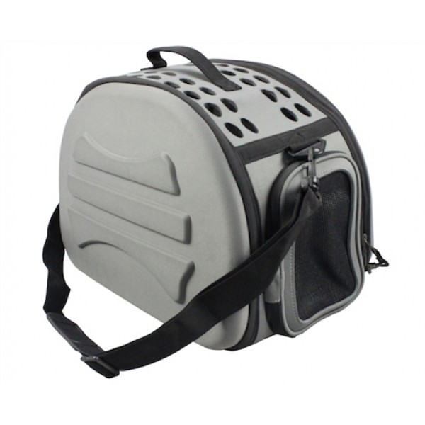 Dark Grey Narrow Shelled Lightweight Collapsible Military Grade Transportable Designer Pet Carrier