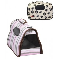PAW PRINT AIRLINE APPROVED COLLAPSIBLE ZIPPERED FASHION TRAVEL 'CAGE' PET DOG CARRIER