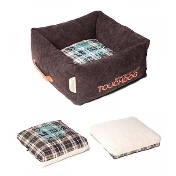 Dark Brown Touchdog Exquisite-Wuff Posh Rectangular Diamond Stitched Fleece Plaid Dog Bed