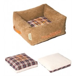 Light Brown Touchdog Exquisite-Wuff Posh Rectangular Diamond Stitched Fleece Plaid Dog Bed