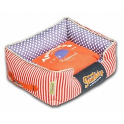 Orange Touchdog Polka-Striped Polo Easy Wash Rectangular Fashion Dog Bed