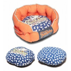 Orange Touchdog Rabbit-Spotted Premium Rounded Dog Bed